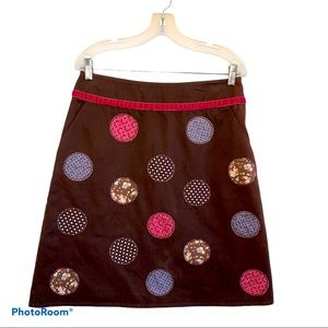 Boden Brown Patch A Line Skirt Size 12